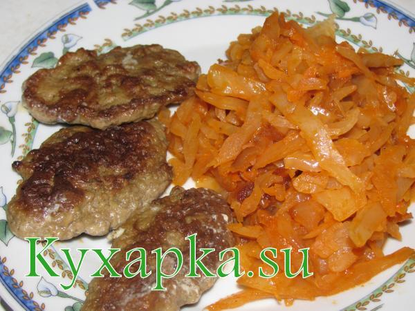 Обед за  19-ть гривен Печёночные котлеты с тушёной капустой за 13,80 гривен