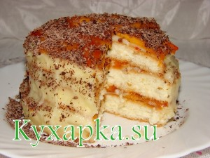 Торт с хурмой и заварным кремом