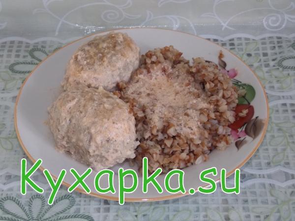 Мясные котлеты Ёжики с гарниром гречкой
