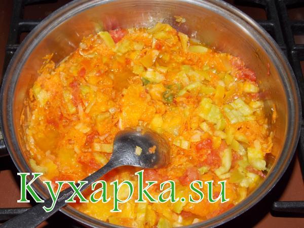 Заливка овощная с фаршем для гарнира