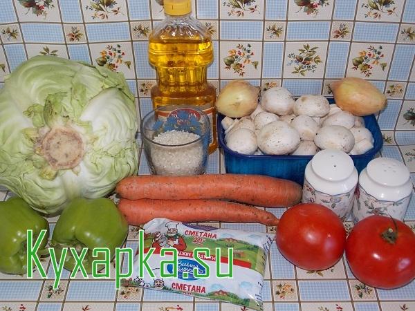 Ингредиенты для вегетарианских голубцов