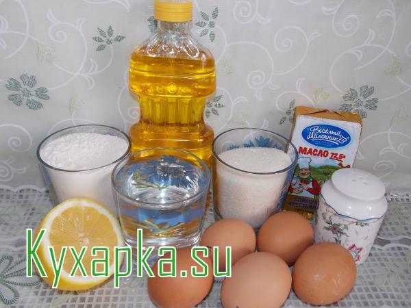 Ингредиенты для заварных пирожных