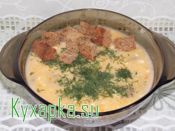 Суп-пюре сырный с грибами