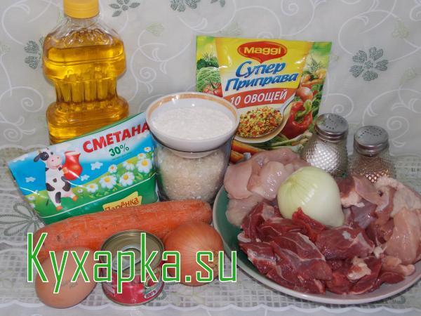Ингредиенты для мясных тефтелей с рисом под соусом