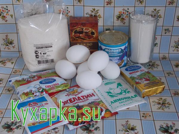 Ингредиенты к торту птичье молоко