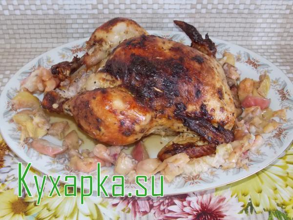 Простой рецепт на новый год 2014 курица с яблоком фаршированная гречкой 1