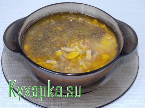 Грибной суп вермишелью