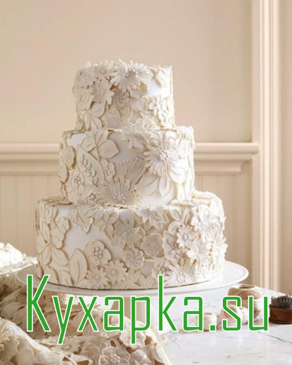Классический круглый торт на свадьбу