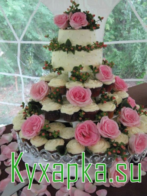 Торт из пирожных на свадьбу