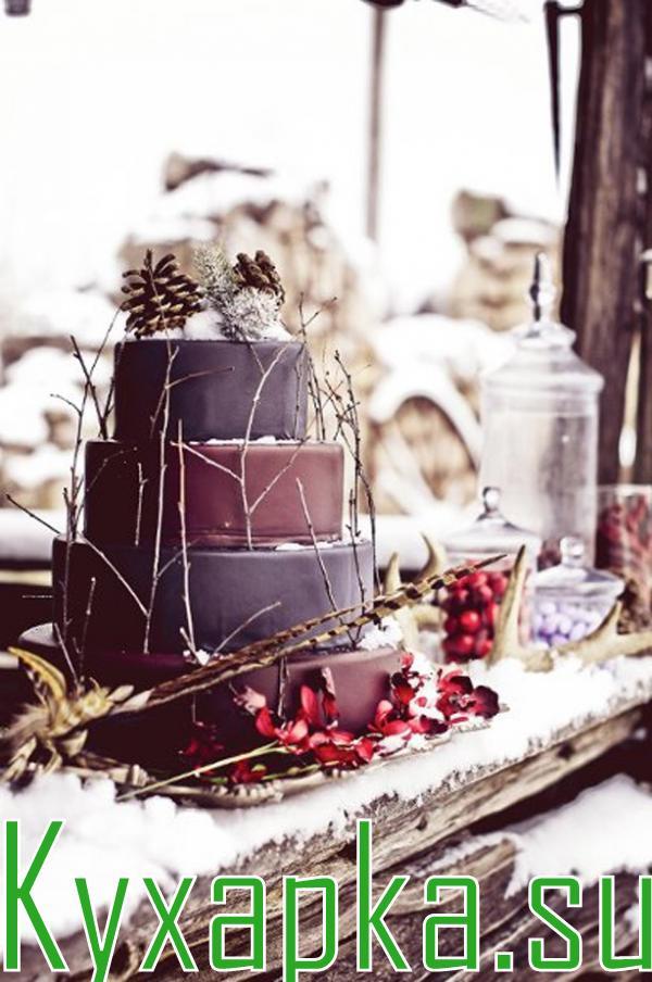 Торт свадьбы в зимний сезон