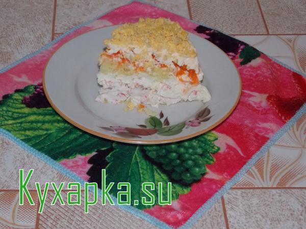 Салат неженка из крабового мяса