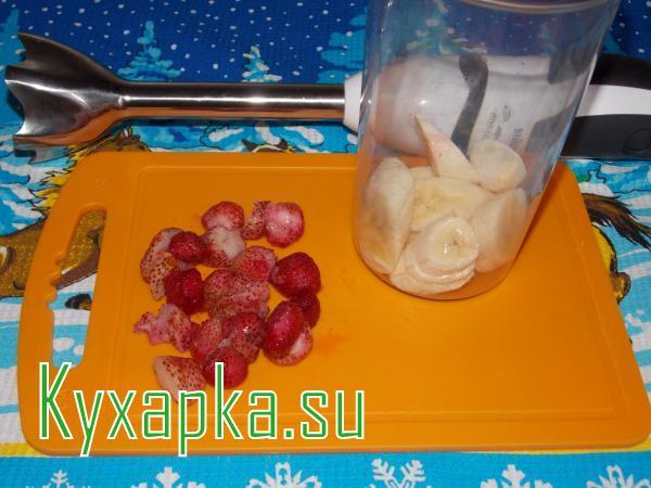 Клубнично-банановый смузи