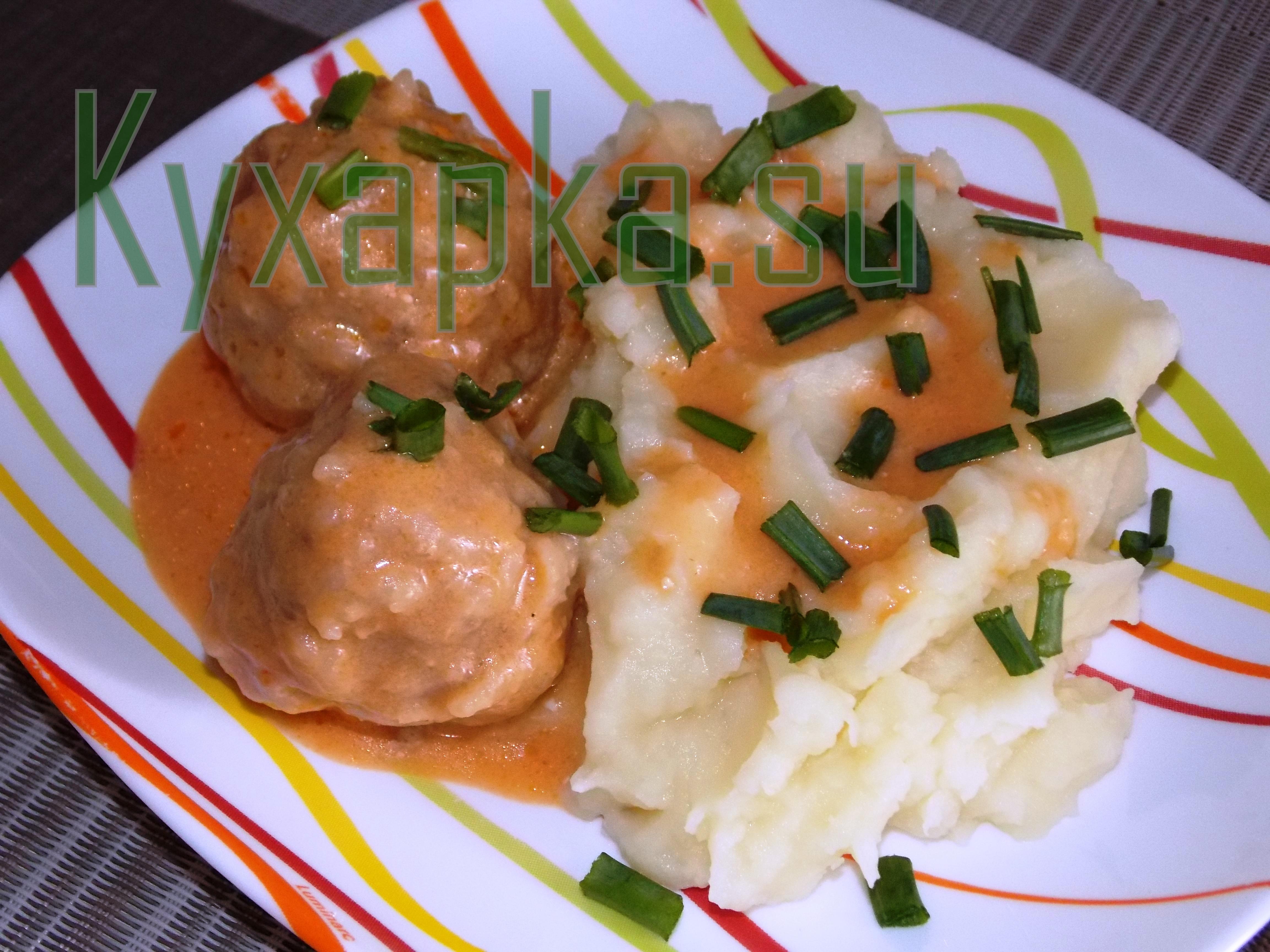 Картофельное пюре с мясными фрикадельками фото Kyxapka.su